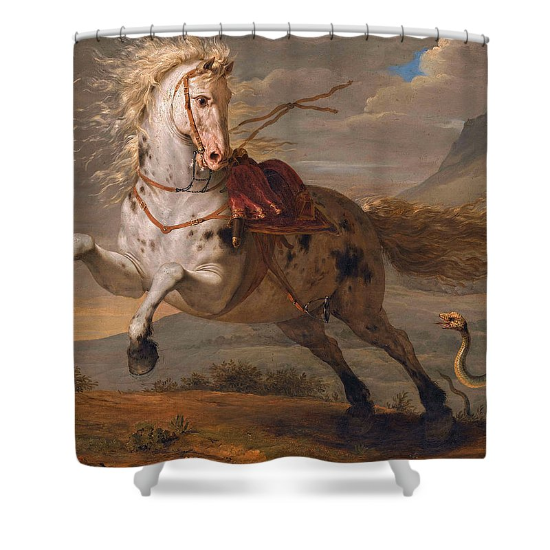Benigne Gagneraux Shower Curtain featuring the painting The Horse And The Snake by Benigne Gagneraux