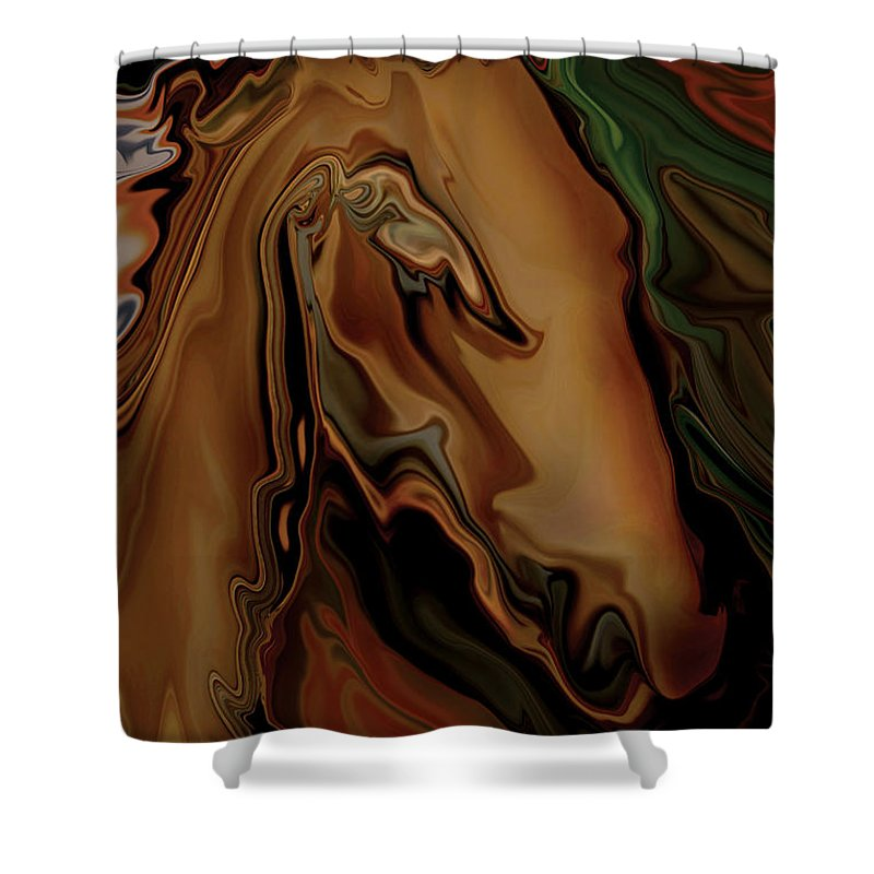Animal Shower Curtain featuring the digital art The Horse by Rabi Khan