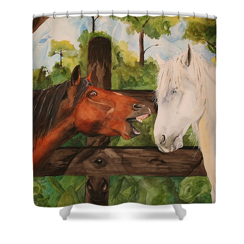 Horse Shower Curtain featuring the painting The Horse Whisperers by Jean Blackmer