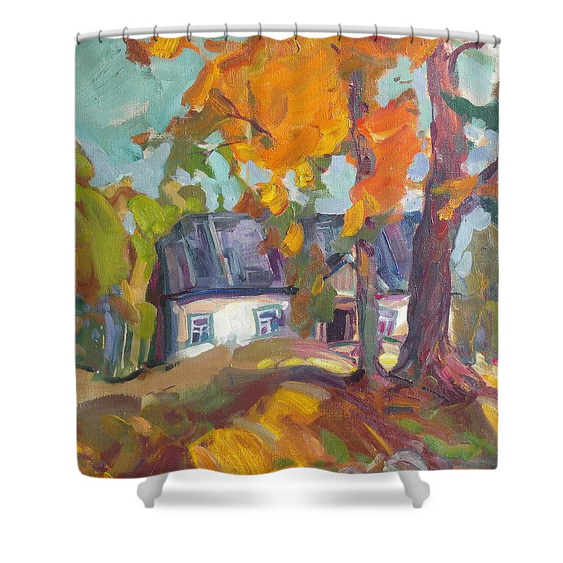 Oil Shower Curtain featuring the painting The House In Chervonka Village by Sergey Ignatenko