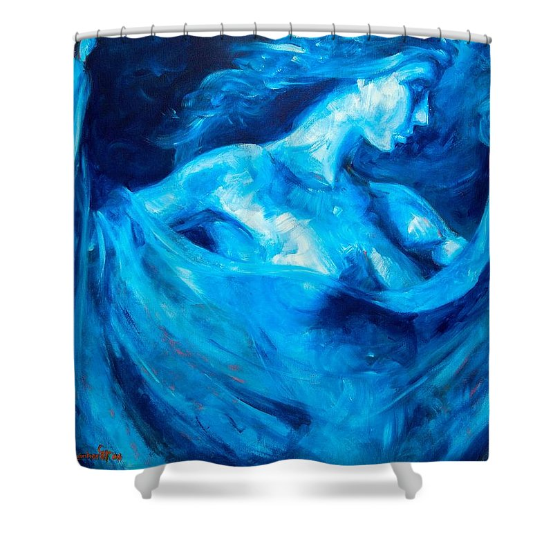 Nude Shower Curtain featuring the painting The Huntress by Jason Reinhardt