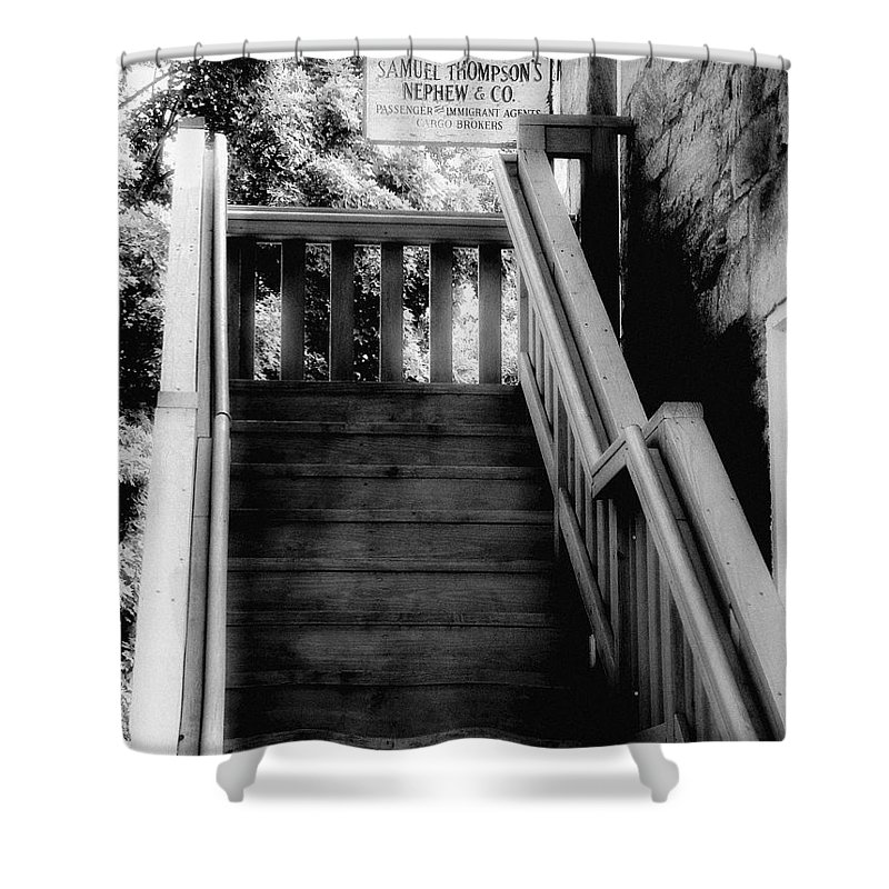 Black And White Shower Curtain featuring the photograph The Immigrant Traders by RC DeWinter