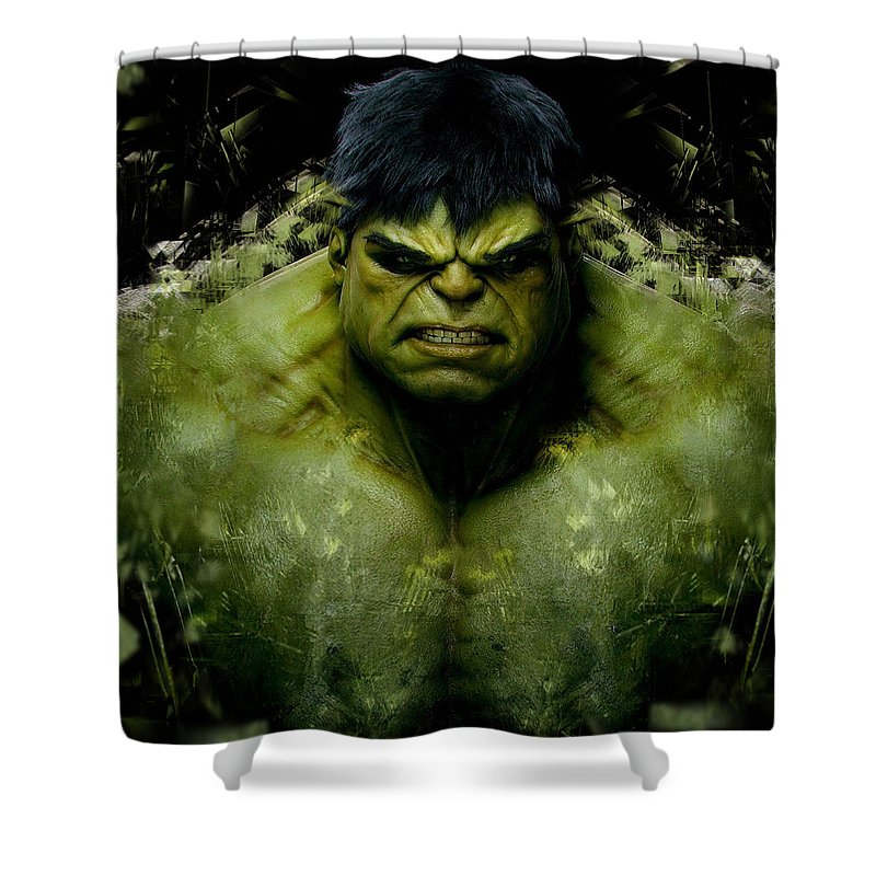 Avengers Shower Curtain Featuring The Mixed Media Incredible Hulk By Love Art