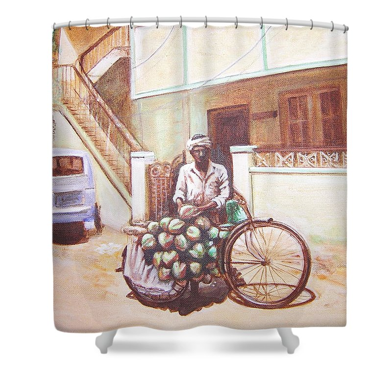 Usha Shower Curtain featuring the painting The Indian Tendor-coconut Vendor by Usha Shantharam