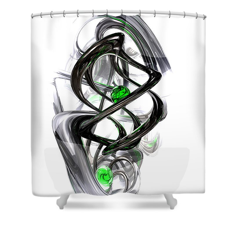3d Shower Curtain featuring the digital art The Inkwell Abstract by Alexander Butler