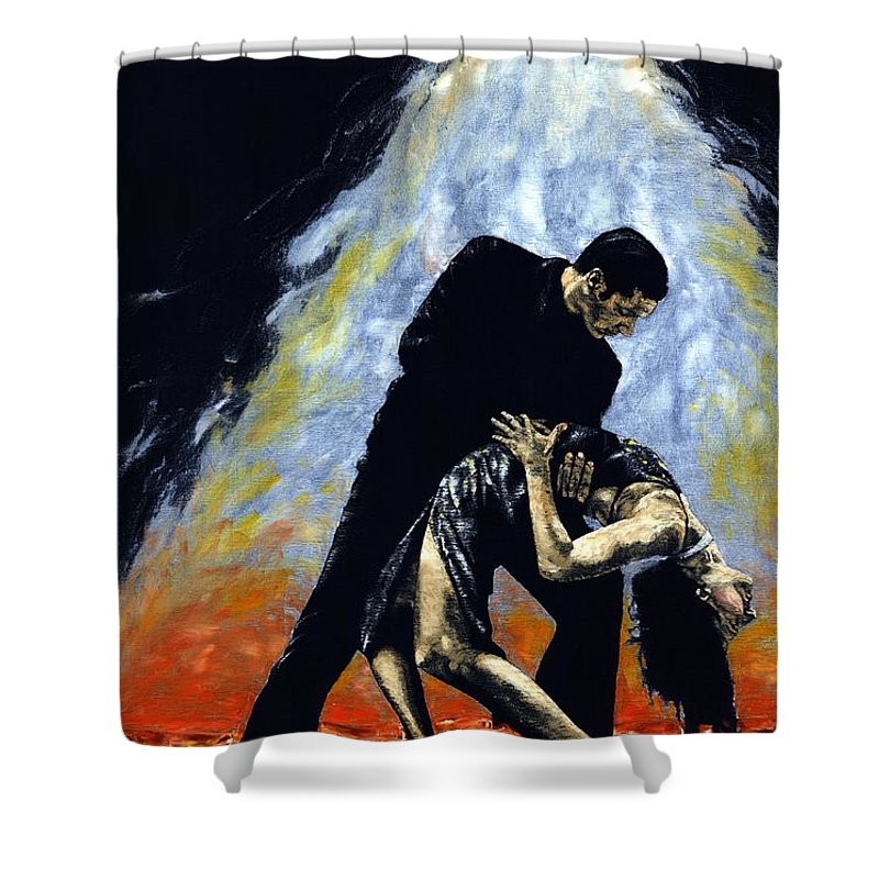 Tango Shower Curtain featuring the painting The Intoxication Of Tango by Richard Young