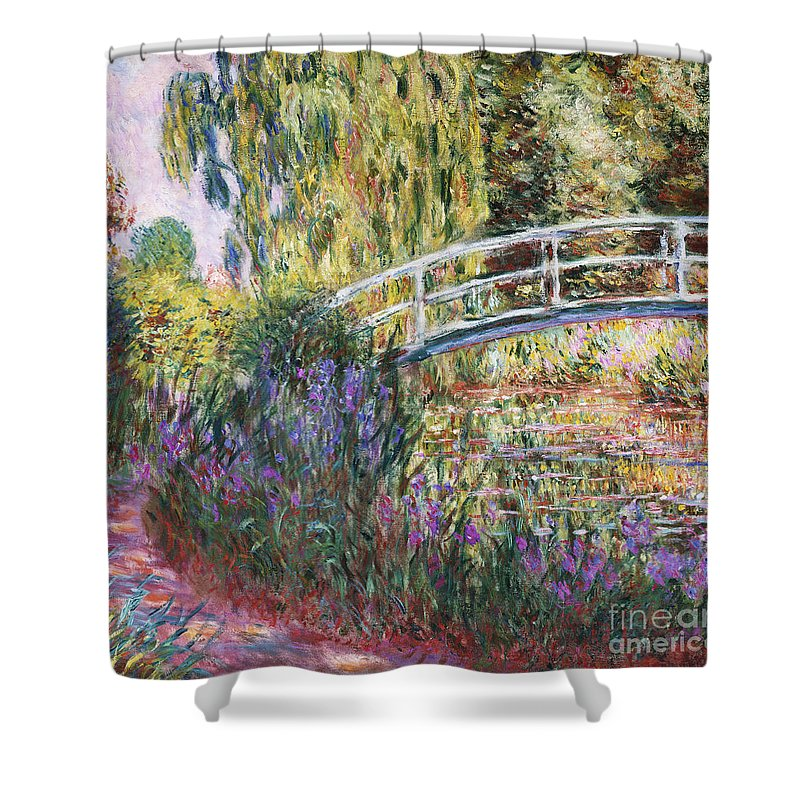 The Japanese Bridge Shower Curtain featuring the painting The Japanese Bridge by Claude Monet