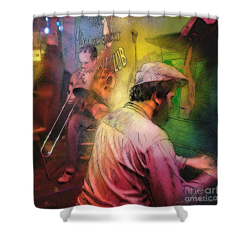 Jazz Shower Curtain featuring the painting The Jazz Vipers In New Orleans 01 by Miki De Goodaboom