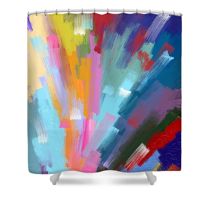Abstract Shower Curtain featuring the painting The Journey Begins by Samsudin Ismail