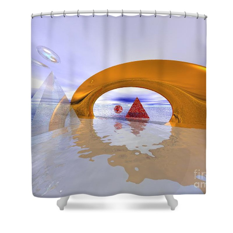 Fantasy Shower Curtain featuring the digital art The Journey Beyond by Oscar Basurto Carbonell
