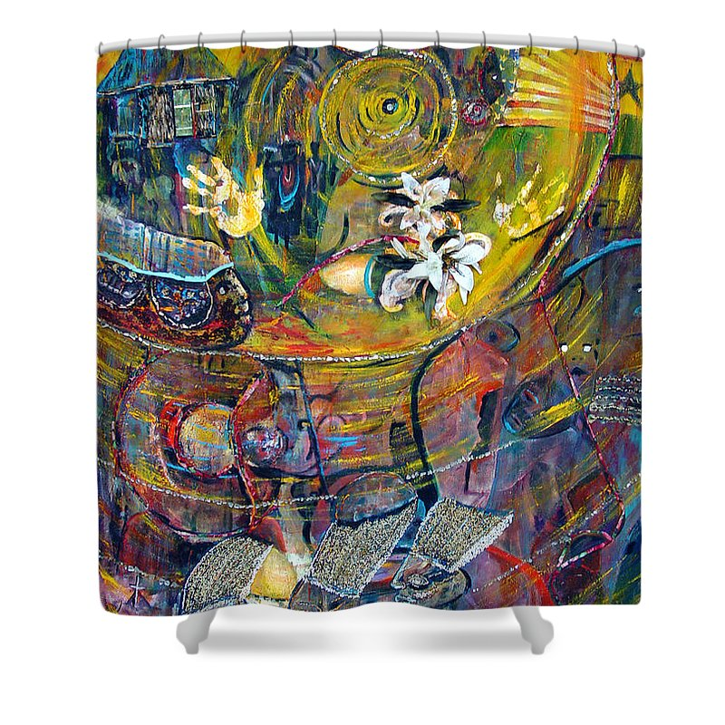 Figures Shower Curtain featuring the painting The Journey by Peggy Blood