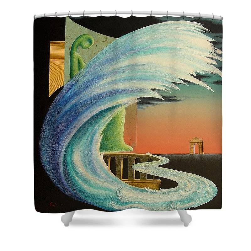 Romantic Shower Curtain featuring the painting The Journy-17 by Raju Bose