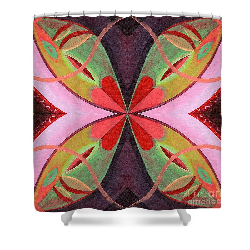 The Joy Of Design 42 Arrangement 1 By Helena Tiainen Shower Curtain featuring the mixed media The Joy Of Design 42 Arrangement 1 by Helena Tiainen