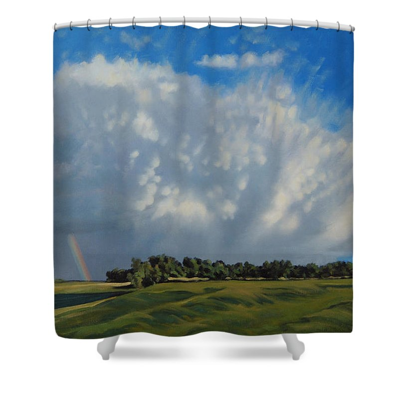 Landscape Shower Curtain featuring the painting The June Rains Have Passed by Bruce Morrison