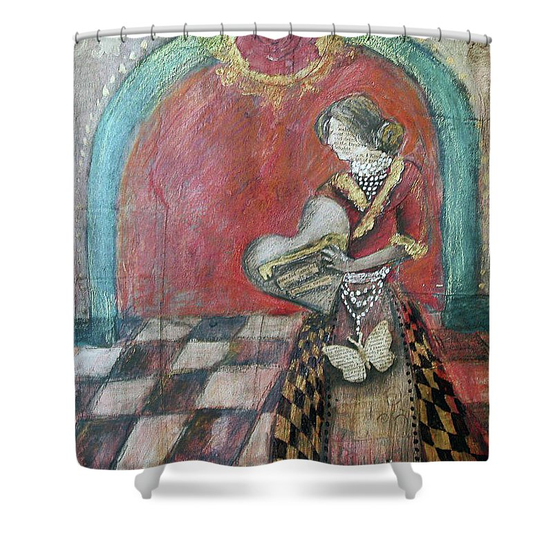 Heart Shower Curtain featuring the mixed media The Key To Love by Kathleen Barnes