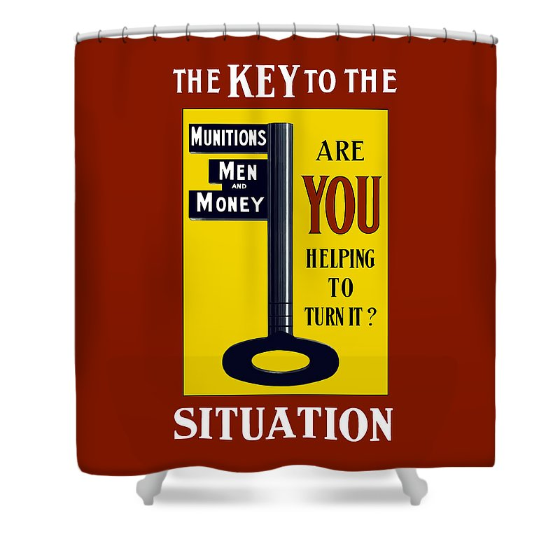 Ww1 Shower Curtain featuring the painting The Key To The Situation - Ww1 by War Is Hell Store