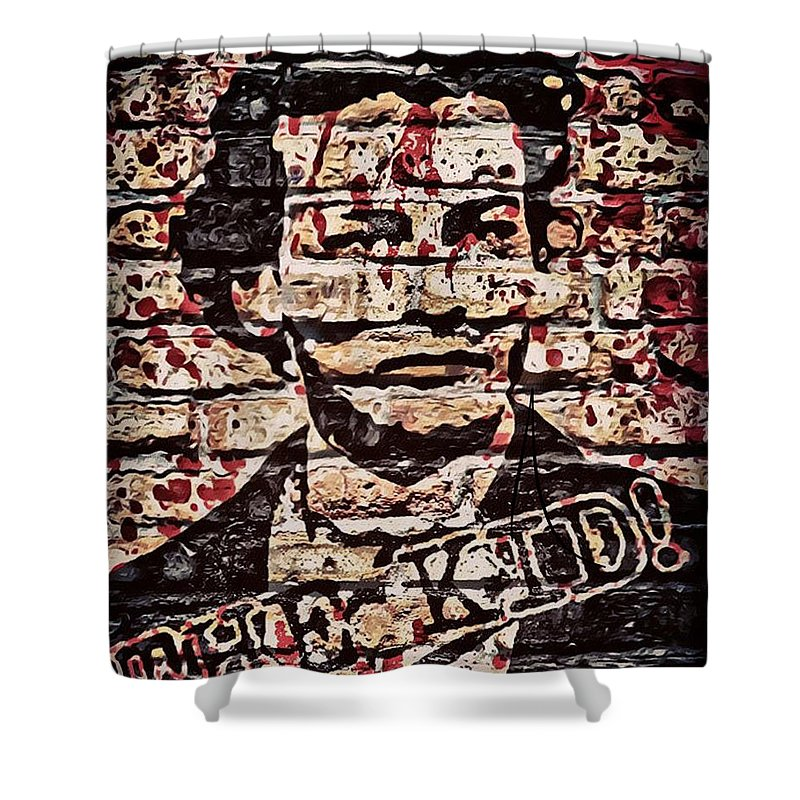 Military Shower Curtain featuring the digital art The Kid by Carlos Garcia