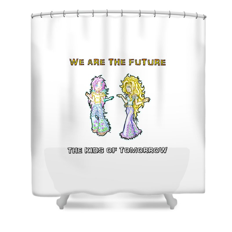 Kids Shower Curtain Featuring The Painting Of Tomorrow Ariel And Darla By Shawn Dall