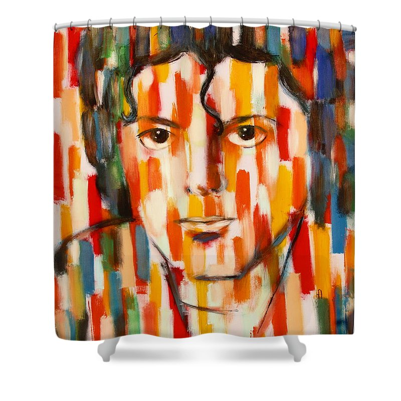 Michael Jackson Shower Curtain featuring the painting the king of pop Michael Jackson by Habib Ayat