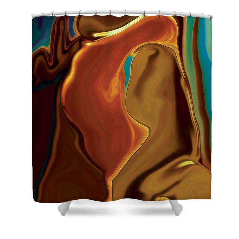 Abstract Art Blue Brown Digital Embrace Figurative Girl Green Kiss Love Man Night Passion Rabi_khan Shower Curtain featuring the digital art The Kiss by Rabi Khan