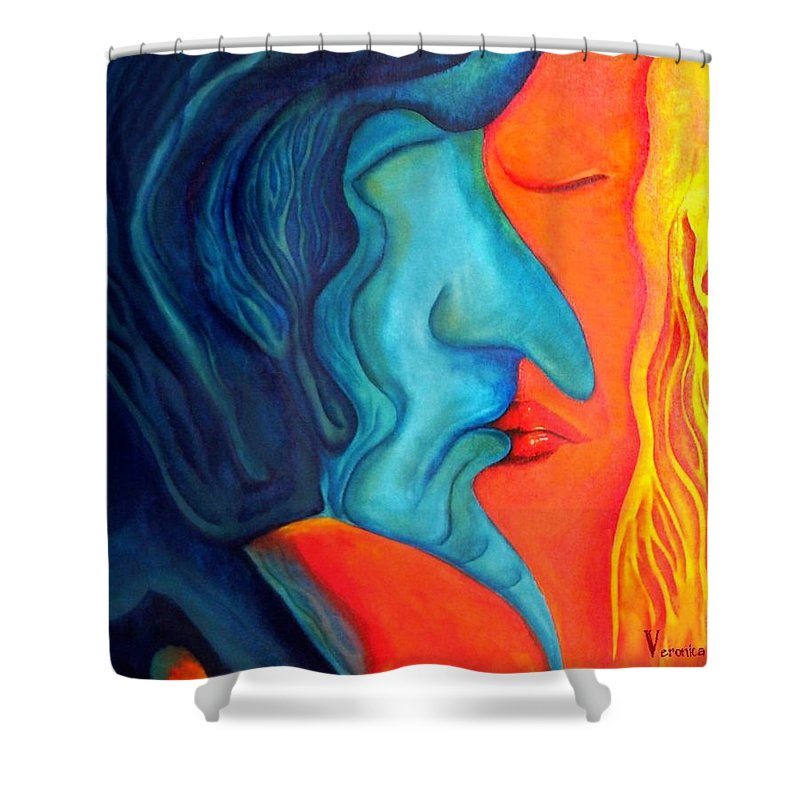 Kiss Love Passion Couple Intensity Blue Orange Fire Lust Sex Shower Curtain featuring the painting The Kiss by Veronica Jackson
