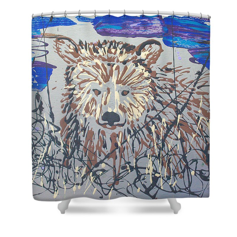 Bear In Bushes Shower Curtain featuring the painting The Kodiak by J R Seymour