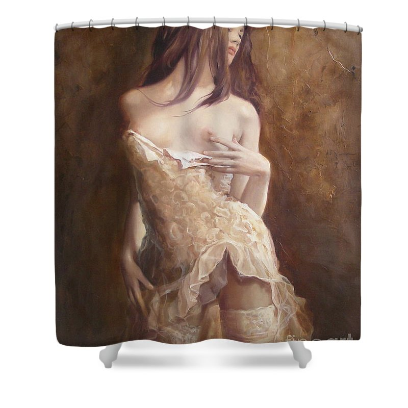 Art Shower Curtain featuring the painting The Laces by Sergey Ignatenko
