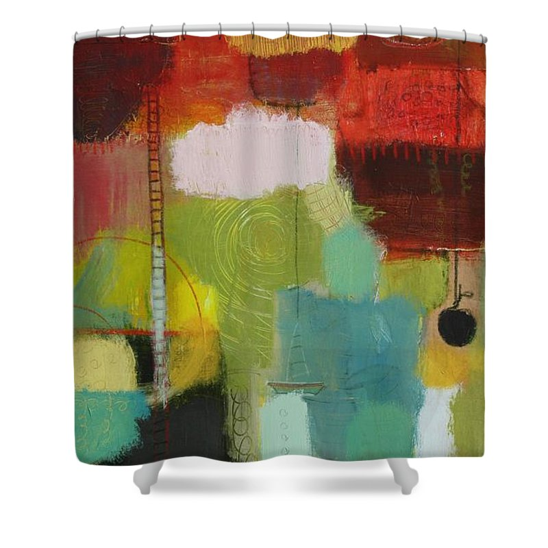 Abstract Shower Curtain featuring the painting The Ladder Of Life by Habib Ayat
