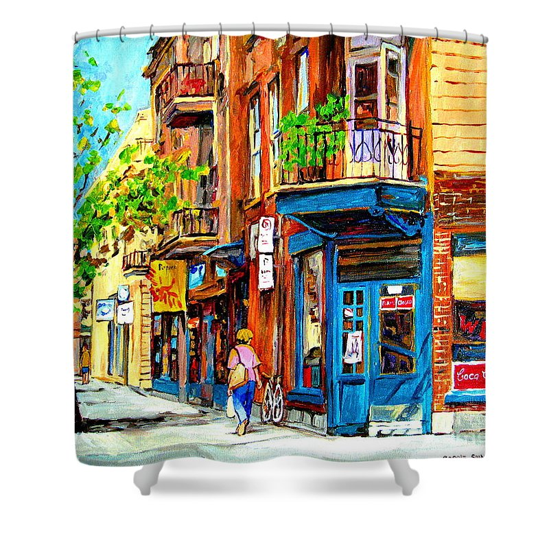 Wilenskys Shower Curtain featuring the painting The Lady In Pink by Carole Spandau