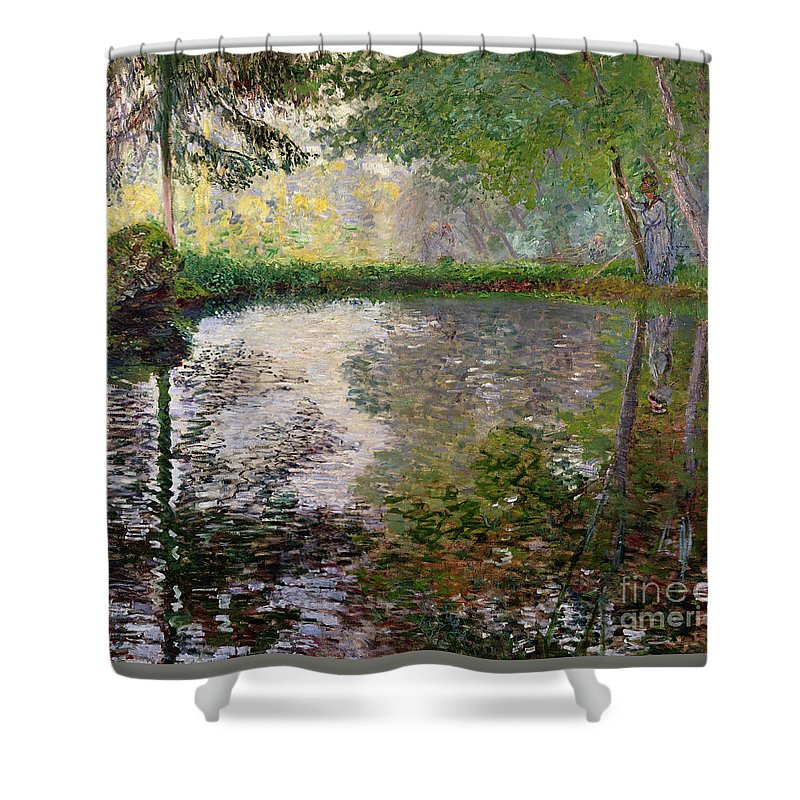 The Lake At Montgeron By Claude Monet (1840-1926) Shower Curtain featuring the painting The Lake at Montgeron by Claude Monet