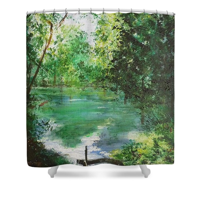 Lake Shower Curtain featuring the painting The Lake At Stansted Unfinished by Lizzy Forrester