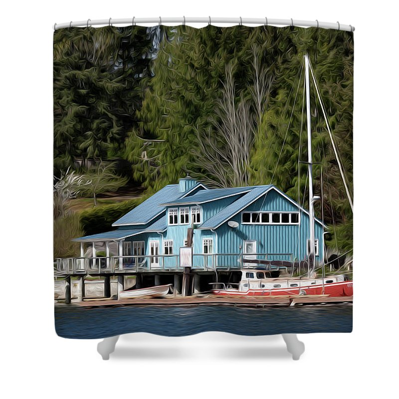 Lake Shower Curtain featuring the digital art The Lake House - Digital Oil by Steve Owst