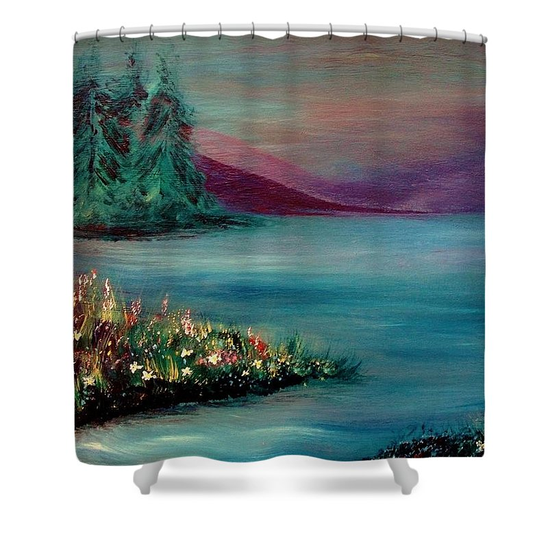 Landscape Shower Curtain featuring the painting The Lake by Robin Monroe