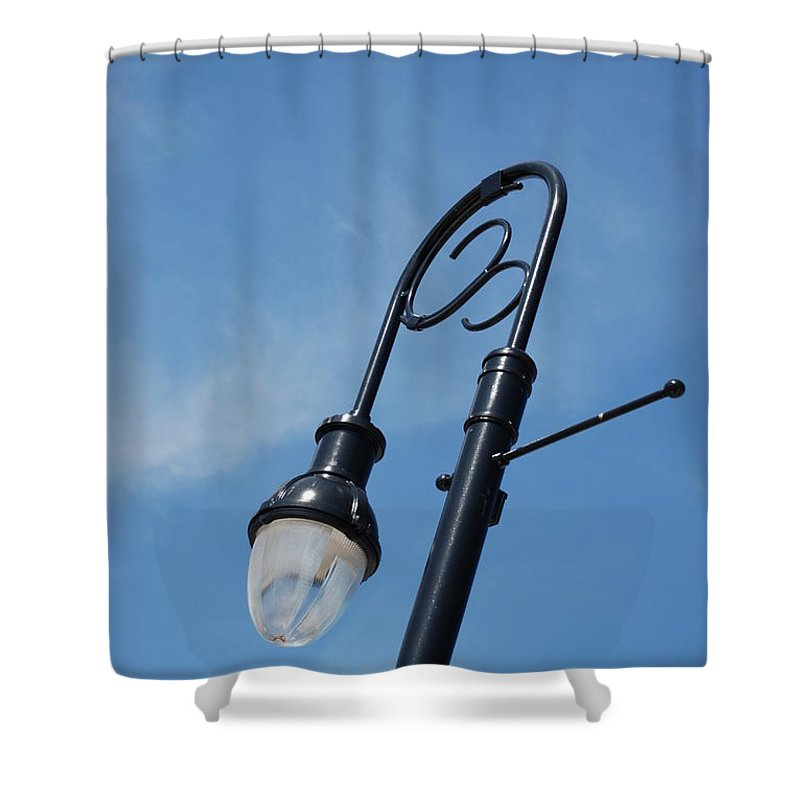 Blue Sky Shower Curtain featuring the photograph The Lamp Post by Rob Hans