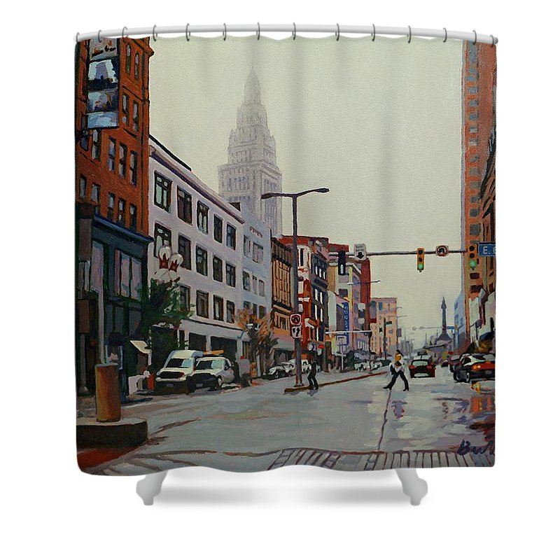 A Trip In The Inner City Shower Curtain featuring the painting The Land by David Buttram