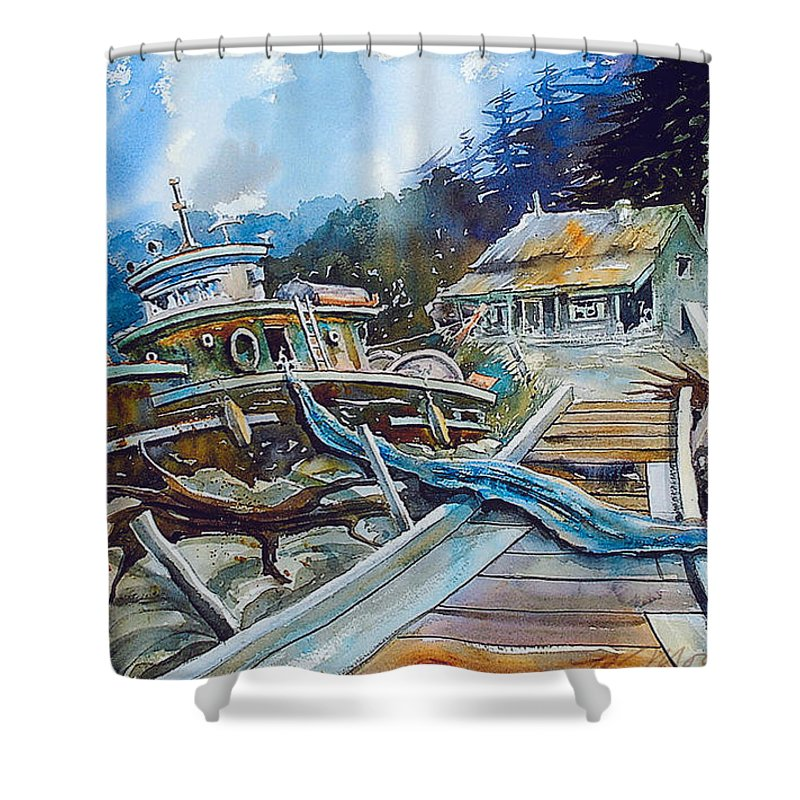 Boat Shower Curtain featuring the painting The Last Bastion..on the Beach by Ron Morrison