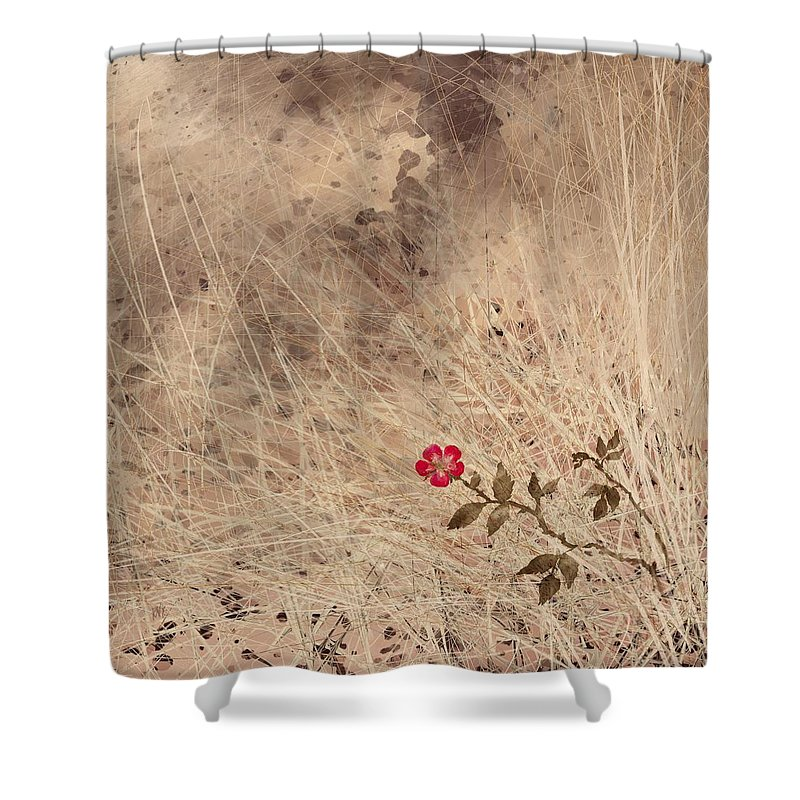 Abstract Shower Curtain featuring the digital art The Last Blossom by William Russell Nowicki