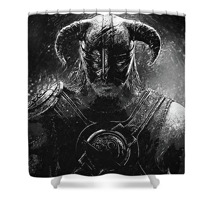 Last Dragonborn Shower Curtain Featuring The Digital Art