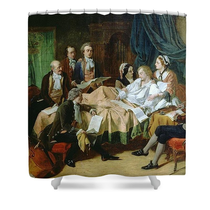 Person Shower Curtain featuring the digital art The Last Hours Of Mozart 1756-91 Henry Nelson Oneil by Eloisa Mannion