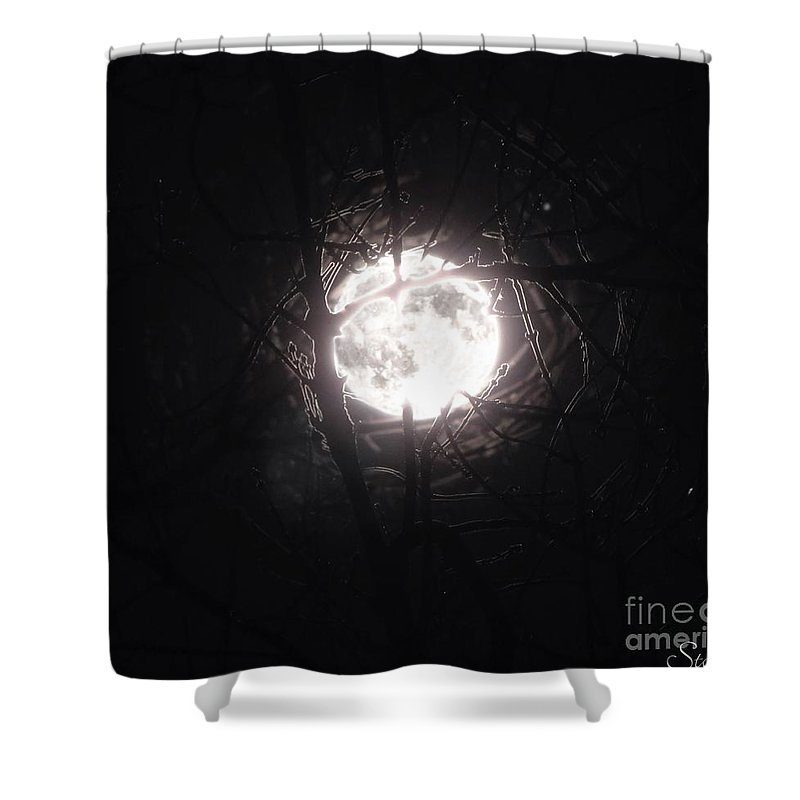 Night Shower Curtain featuring the photograph The Last Nights Moon by September Stone