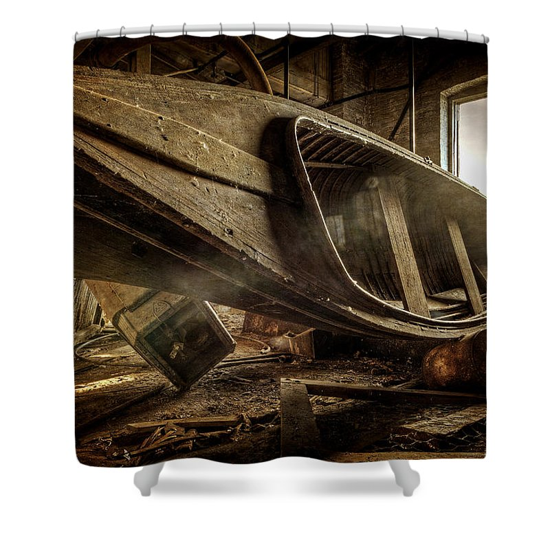 Boat Shower Curtain featuring the photograph The Last Port by Everet Regal