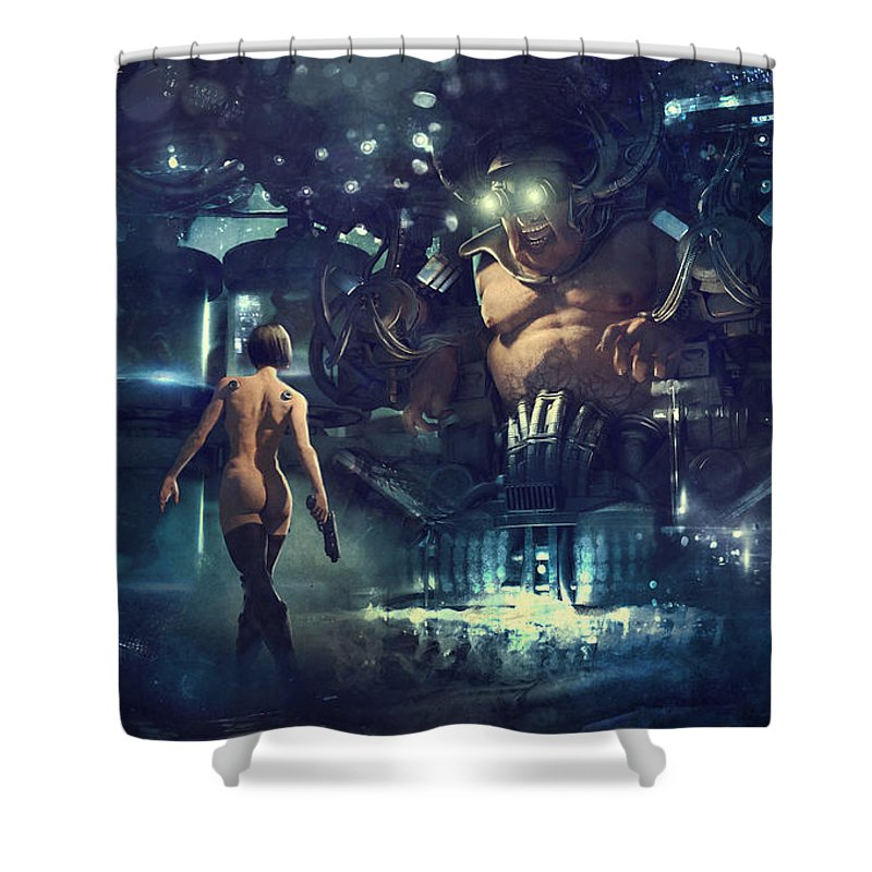 Fantasy Shower Curtain featuring the painting The Last Smile by Guillem H Pongiluppi