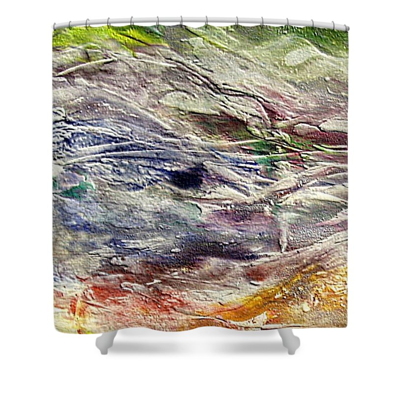 Last Snow Shower Curtain featuring the painting The Last Snow by Dragica Micki Fortuna