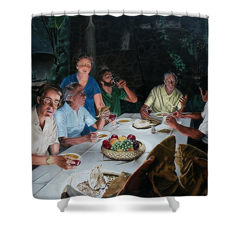 Last Supper Shower Curtain featuring the painting The Last Supper by Dave Martsolf