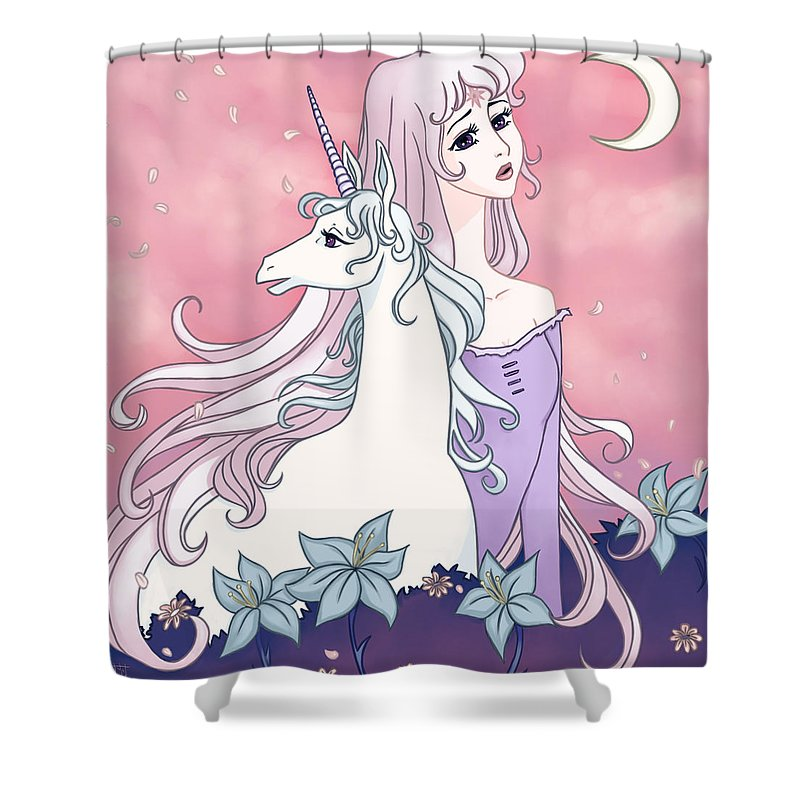 Last Unicorn Shower Curtain Featuring The Painting By Jennifer Chastain