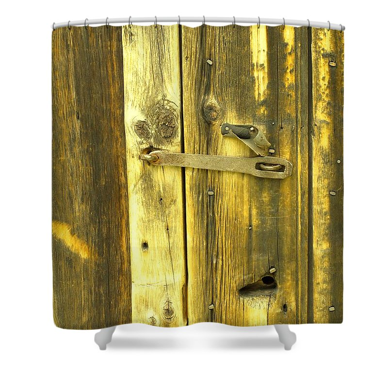 Pioneer Shower Curtain featuring the photograph The Latch by Ian MacDonald