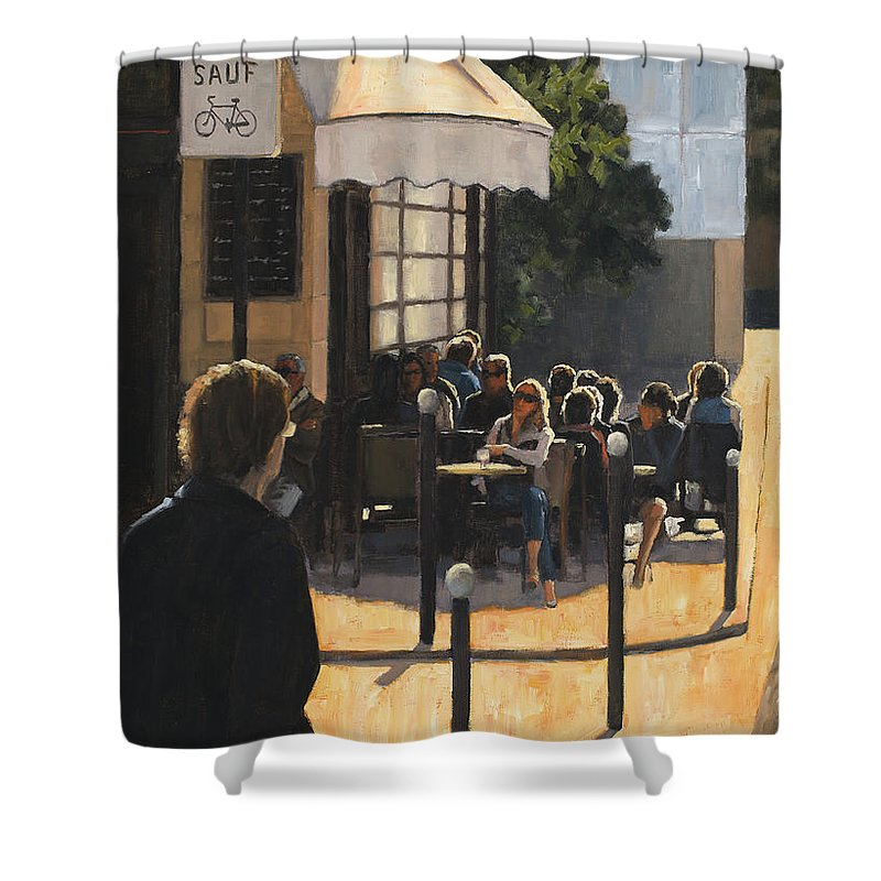 Paris Shower Curtain featuring the painting The Latin Quarter by Tate Hamilton