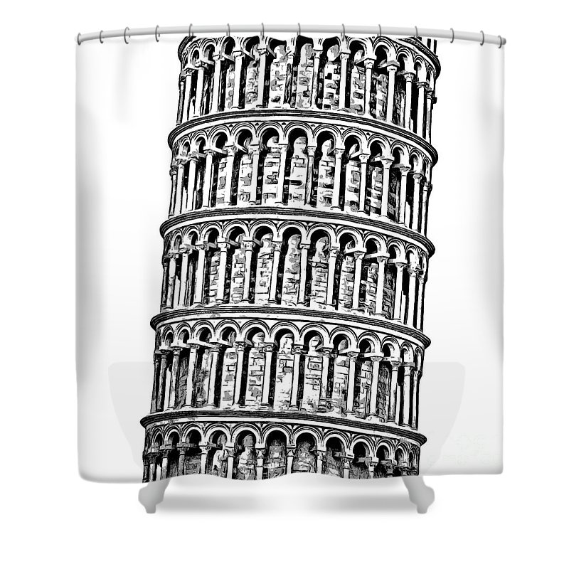 Graphic Shower Curtain Featuring The Digital Art Leaning Tower Of Pisa By Edward Fielding
