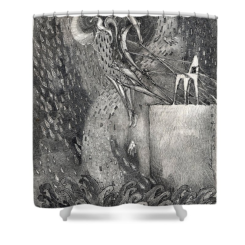Leap Shower Curtain featuring the drawing The Leap by Juel Grant