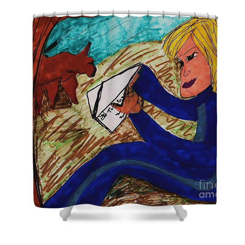 Sitting By A Tree Opening Up A Letter Girl With Blonde Hair Shower Curtain featuring the mixed media The Letter by Elinor Helen Rakowski